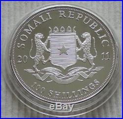 Somalia 2011 Elephant African Wildlife 1 oz Silver Gold Gilded Coin Elefant unze