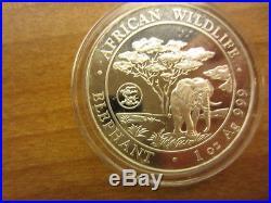 Somalia 2012 100 Shilling Somalia Silver Elephant with Dragon Privy 1 Oz