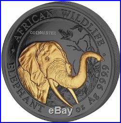 Somalia 2018 100 Shillings Golden Enigma AFRICAN ELEPHANT 1 Oz Silver Coin