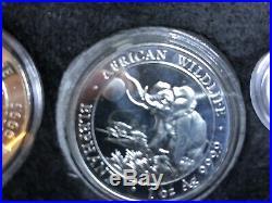 Somalia African Wildlife Elephant SET 9 Coins in WOOD BOX Silver. 999