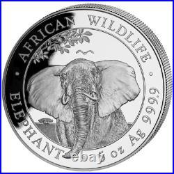 Somalia Elefant 2021 African Wildlife Elephant 5 OZ Silber Silver Argent