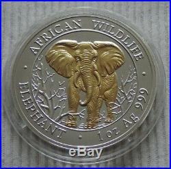 Somalia Elephant 2004 1 oz Silver Gold Gilded coin African Somali Elefant