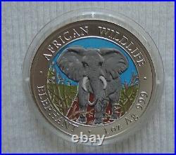 Somalia Elephant 2004 1 oz silver color coin African Wildlife Somali Elefant