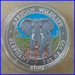 Somalia Elephant 2004 1 oz silver color coin African Wildlife Somali Elefante