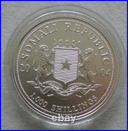 Somalia Elephant 2004 African Wildlife 1 oz silver 999 color coin Farbe Elefant