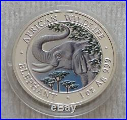 Somalia Elephant 2005 1 oz Silver color coin 1000 shillings Somali Elefant farbe