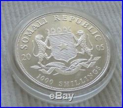 Somalia Elephant 2005 1 oz silver Gold Gilded coin African Wildlife Elefant