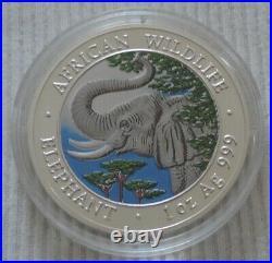 Somalia Elephant 2005 1 oz silver color coin African Wildlife Somali Elefant