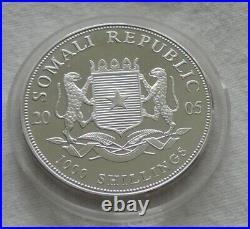 Somalia Elephant 2005 1 oz silver colorized coin African Wildlife Somali Elefant