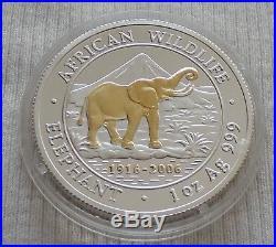 Somalia Elephant 2006 1 oz SILVER Gold Gilded coin African Somali Elefant