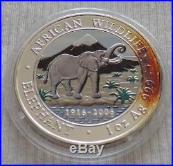 Somalia Elephant 2006 1 oz Silver color coin 1000 shillings Somali Elefant farbe