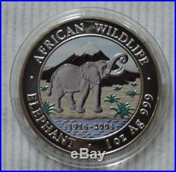 Somalia Elephant 2006 1 oz silver color coin African Wildlife Somali Elefant