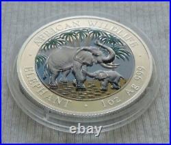 Somalia Elephant 2007 1 oz silver color coin African Wildlife Farbe Elefant