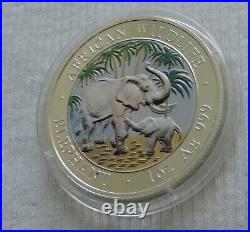 Somalia Elephant 2007 1 oz silver color coin African Wildlife Somali Elefant