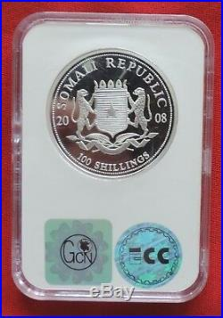 Somalia Elephant 2008 1 oz silver proof coin PR70 African Wildlife Elefant