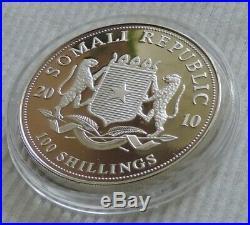 Somalia Elephant 2010 1 oz silver color coin African Wildlife Somali Elefant
