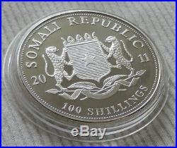 Somalia Elephant 2011 1 oz silver color coin African Wildlife Somali Elefant