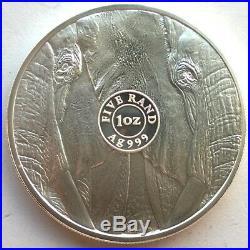 South Africa 2019 Elephant 5 Rand 1oz Silver Coin, BU