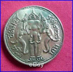 Thai Amulet Coin king Reign 5 Three headed Elephant Crown Genuine rare R. S 127