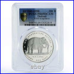 Thailand 200 baht WWF Conserving Nature The Elephants PR69 PCGS silver coin 1998