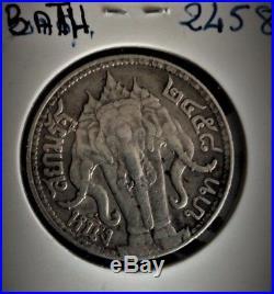 Thailand Siam Silver Coin 1 Baht King Rama VI ND 1920 Three Head Elephant