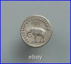 Titus silver denarius, Elephant. Roman coin