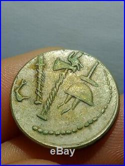 UNRESEARCHED ANCIENT ROMAN AR SILVER DENARIUS COIN Julius Caesar / Elephant