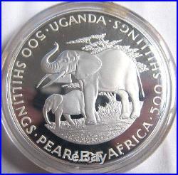 Uganda 1981 Elephants 500 Shillings 4oz Silver Coin, Proof