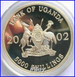 Uganda 2002 Elephant 5000 Shillings 1oz Silver Coin, Proof