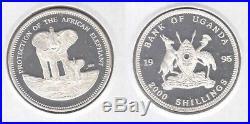 Uganda Rare Essai Silver Proof 2000 Shillings Coin 1995 Year Elephant