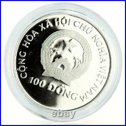 Vietnam 100 dong Enadangered Wildlife Elephants Fauna proof silver coin 1993