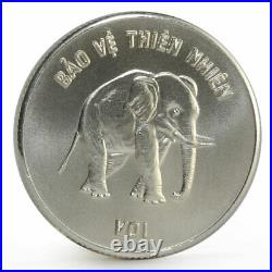 Vietnam 100 dong Natural Animals Protection series Elephant silver coin 1986
