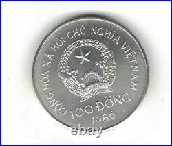Vietnam Silver 100 Dong Unc Coin 1986 Year Km#21 Elephant