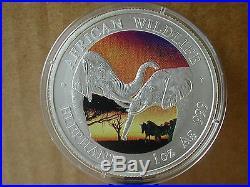 ZAMBIA 5000 Kwacha 2002 1 Oz silver BU ELEPHANT with colours rare bargain