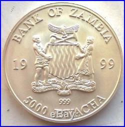 Zambia 1999 Elephant 5000 Kwacha 1oz Silver Coin, Matte, UNC