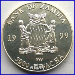 Zambia 1999 Elephant 5000 Kwacha 1oz Silver Coin, Rare