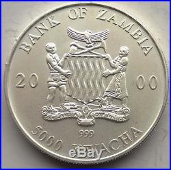 Zambia 2000 Elephant 5000 Kwacha 1oz Silver Coin, UNC Matte