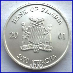 Zambia 2001 Elephant 5000 Kwach 1oz Silver Coin