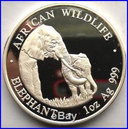Zambia 2001 Elephant 5000 Kwacha 1oz Silver Coin, Proof