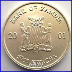 Zambia 2001 Elephant 5000 Kwacha 1oz Silver Coin, UNC Matte