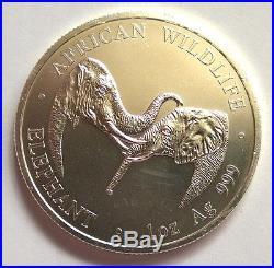 Zambia 2002 Elephant 5000 Kwacha 1oz Silver Coin, Matte