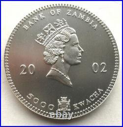 Zambia 2002 Elephant 5000 Kwacha 1oz Silver Coin, UNC