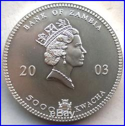Zambia 2003 Elephant 5000 Kwacha 1oz Silver Coin, Matte, UNC