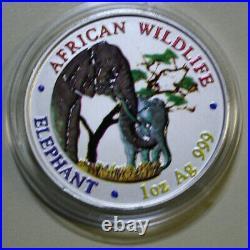 Zambia 5000 Kwacha 2001 African Wildlife Elephant #F3861 Coloriert super rare