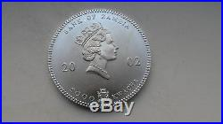 Zambia 5000 Kwacha 2002 Elephants Silver Uncirculated coin