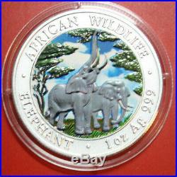 Zambia 5000 Kwacha 2003 African Wildlife Elephant #F3056 Coloriert KM# 186