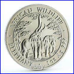 Zambia 5000 kwacha African Wildlife series Elephant silver coin 2003