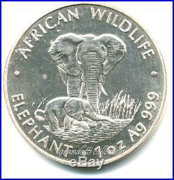 Zambia 500 Kwacha 1999 African Wildlife Elephant Silver Coin