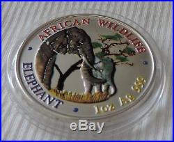 Zambia Elephant 2001 1 oz Silver color coin 5000 kwacha Sambia Elefant farbe