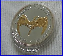 Zambia Elephant 2002 1 oz silver Gold Gilded coin African Wildlife Elefant